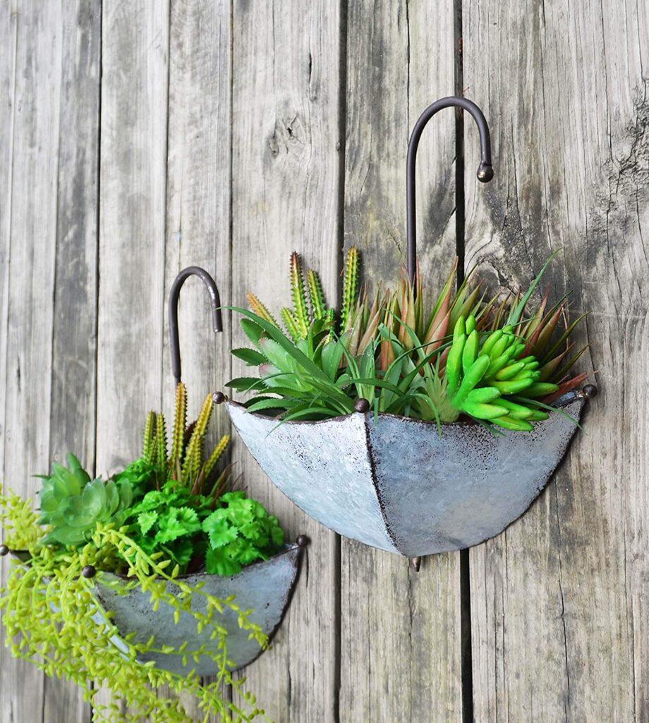 Galvanized Metal Umbrella Hanging Wall Planter Flower Holder Indoor or Outdoor Garden