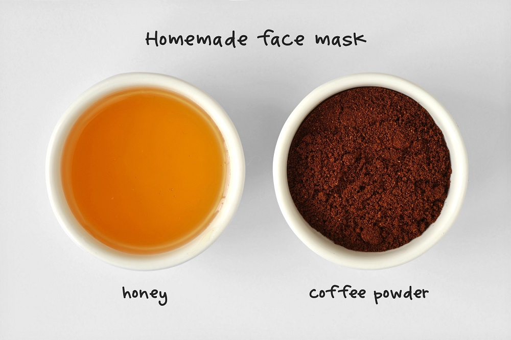 Homemade face mask made out of honey and coffee powder