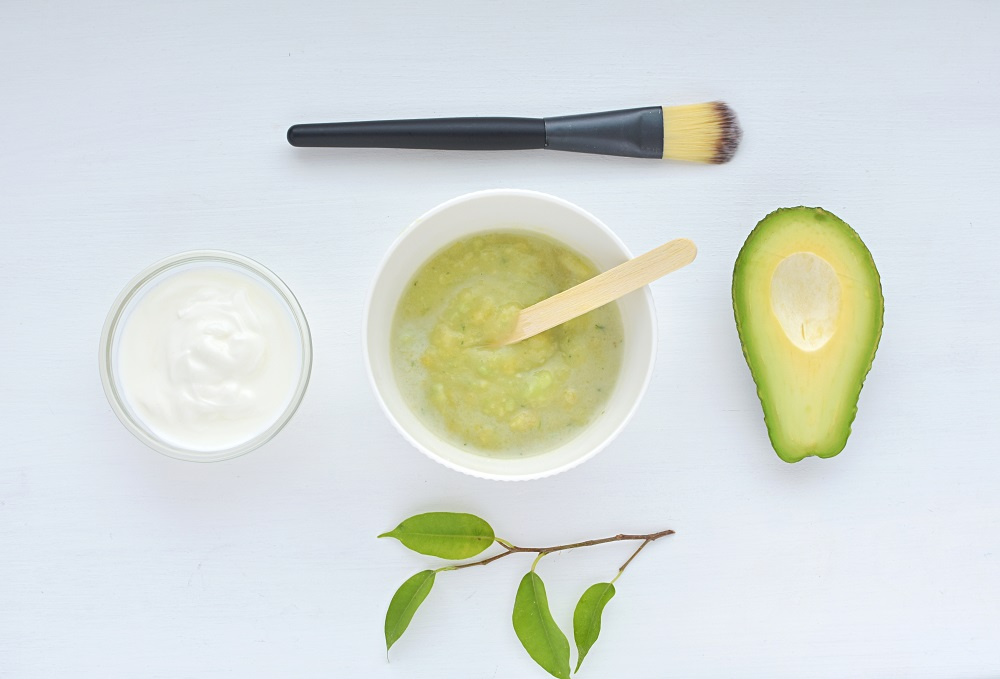 Homemade face mask with avocado and yogurt